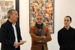 """Inaugurada la Muestra """"Collages"""" de Indalecio en el Teatro de Bonares."""