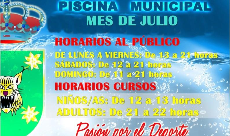 Nuevos horarios de la Piscina Municipal.