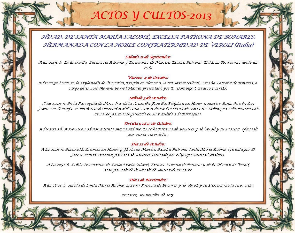 Actos y Cultos 2013, Clic para ampliar.