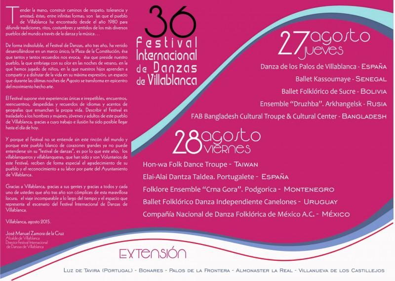 programación festival de danzas de Villablanca 2015.