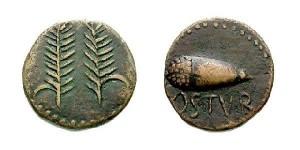 Moneda de la ciudad romana de Ostur, en Villalba del Alcor.