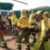 Importante simulacro de incendio entre los municipios de Bonares y Lucena.