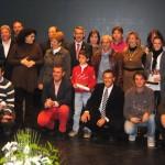 Foto de familia de los galardonados en la I Gala del Deporte del Condado de Huelva.