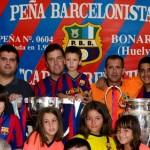 Las Copas de la Champions y la Liga pasaron por la Peña del Barcelona de Bonares.