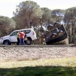 Un choque entre dos vehículos en la carretera de Bonares a Lucena del Puerto se salda con un herido leve.