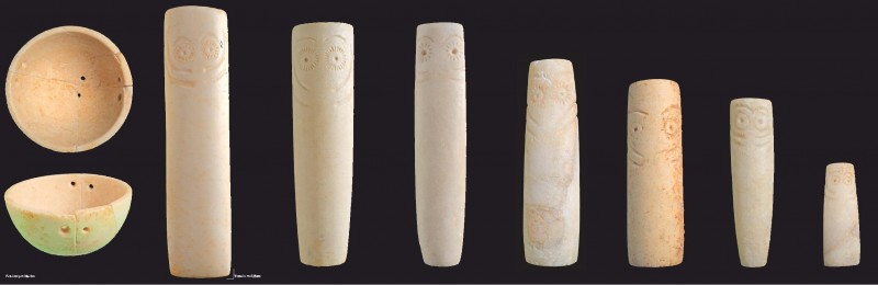 idolos encontrados en el yacimiento del seminario