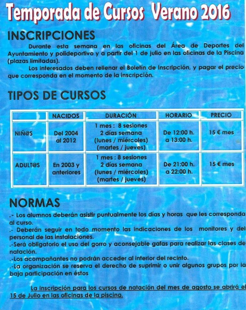 Temporada de piscina horarios precios cursos bonares for Horario oficinas correos agosto