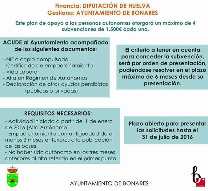 plan apoyo autonomos de Bonares