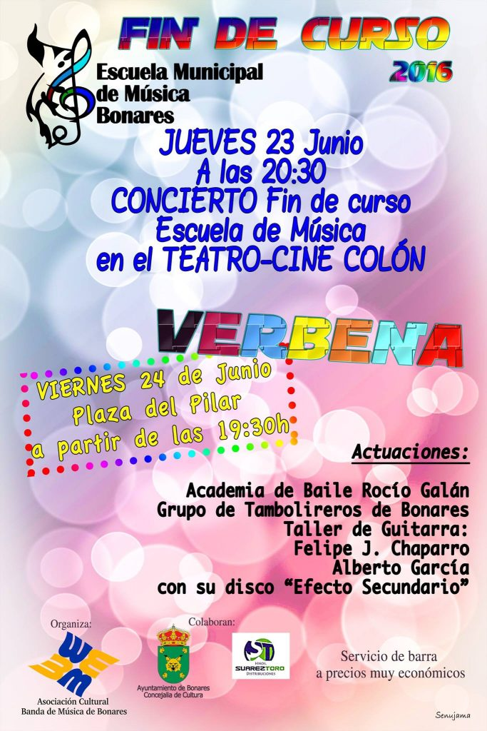 concierto y verbena escuela de música de Bonares.