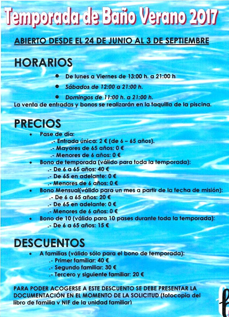 Piscina 2017 horarios precios cursos bonares digital for Horario piscina alaquas