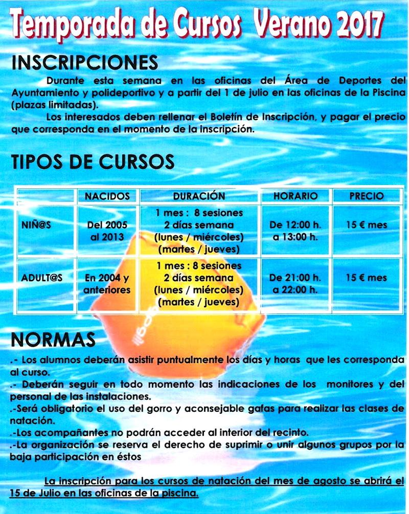 piscina 2017 horarios precios cursos bonares digital